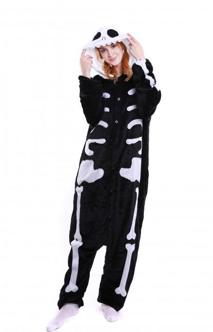 Unisex kigurumi Black white Skull onesies animal pajamas