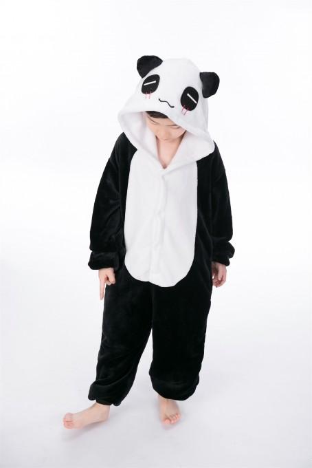 Black white Panda animal kigurumi onesie pajamas for kids