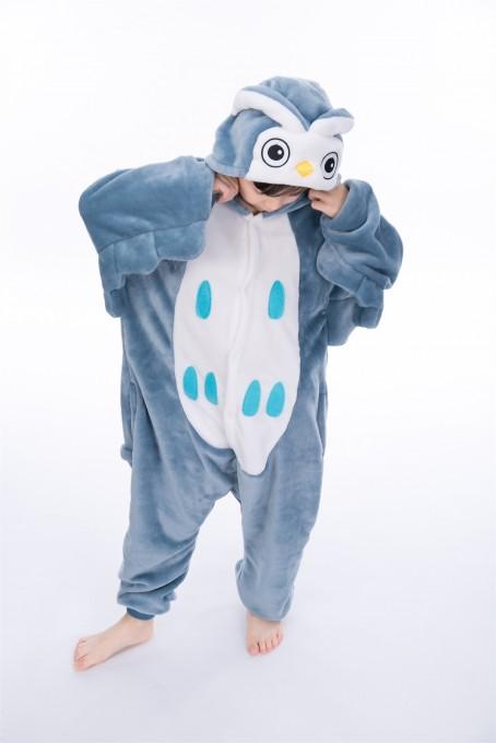 Blue Owl animal kigurumi onesie pajamas for kids