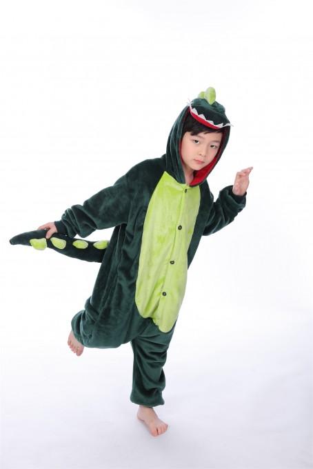 Green Dinosaur animal kigurumi onesie pajamas for kids