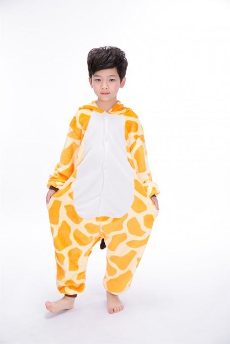 Yellow Giraffe animal kigurumi onesie pajamas for kids