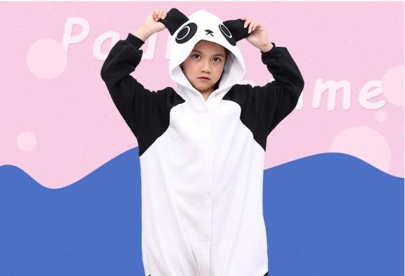 Black white Kungfu Panda onesie pajamas for kids