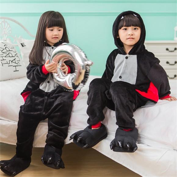 Black Red Bat onesie pajamas for kids
