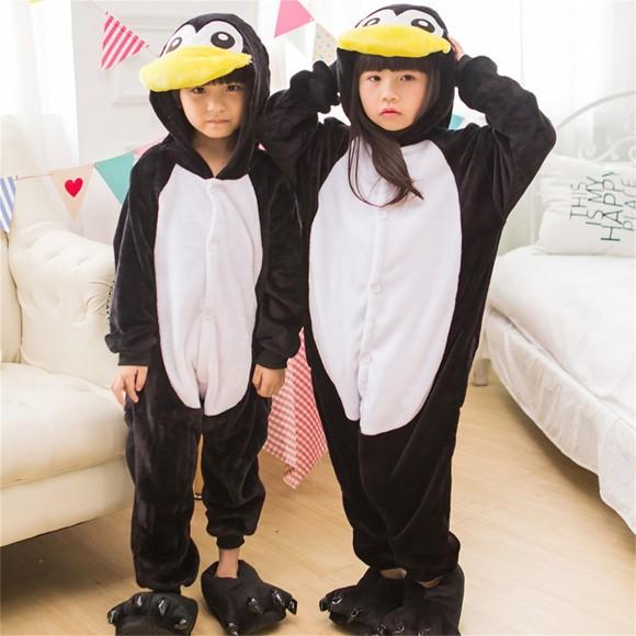 Black white Penguin onesie pajamas for kids
