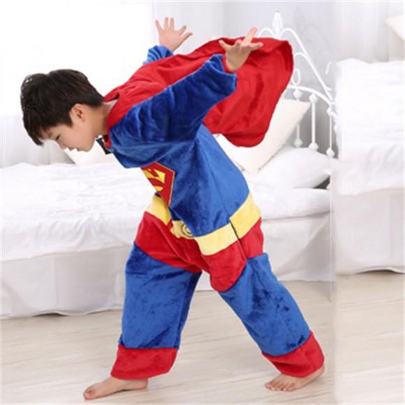 Blue Red Superman onesie pajamas for kids