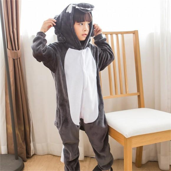 Grey Wolf onesie pajamas for kids