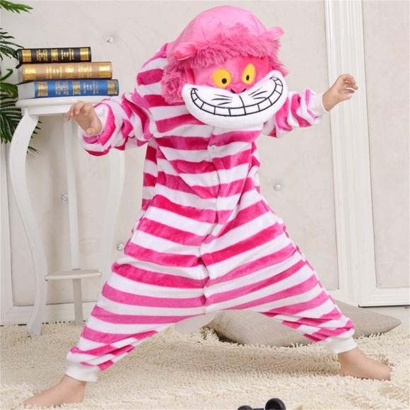 Pink Red Cheshire Cat onesie pajamas for kids