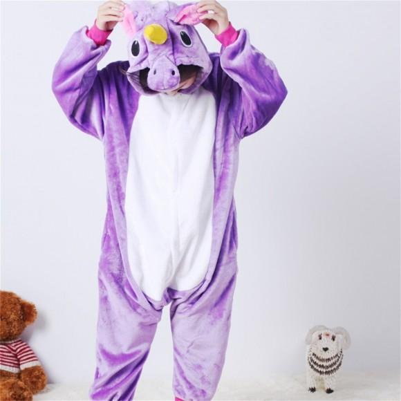 Purple Pegasus animal kigurumi onesie pajamas for kids