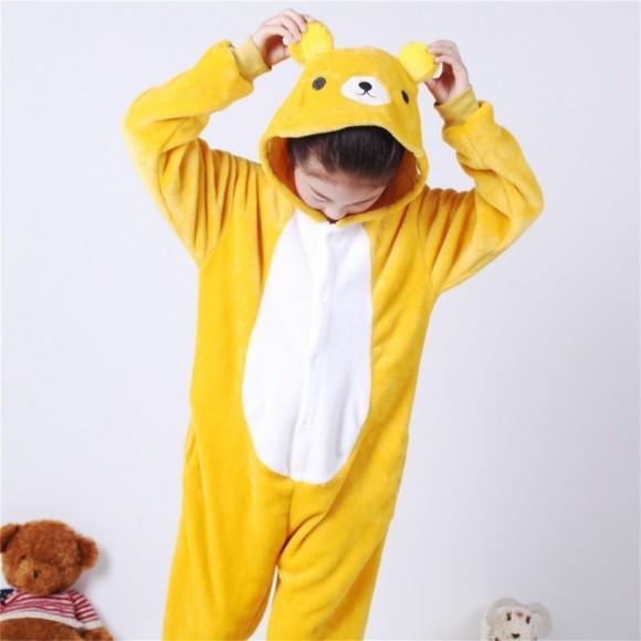Yellow Bear animal kigurumi onesie pajamas for kids