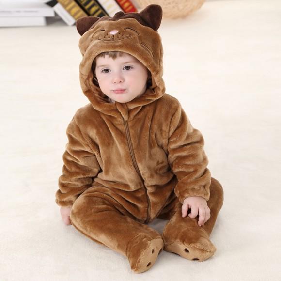 Baby Brown Cat Kigurumi Onesie Pajamas Animal Onesies Costume