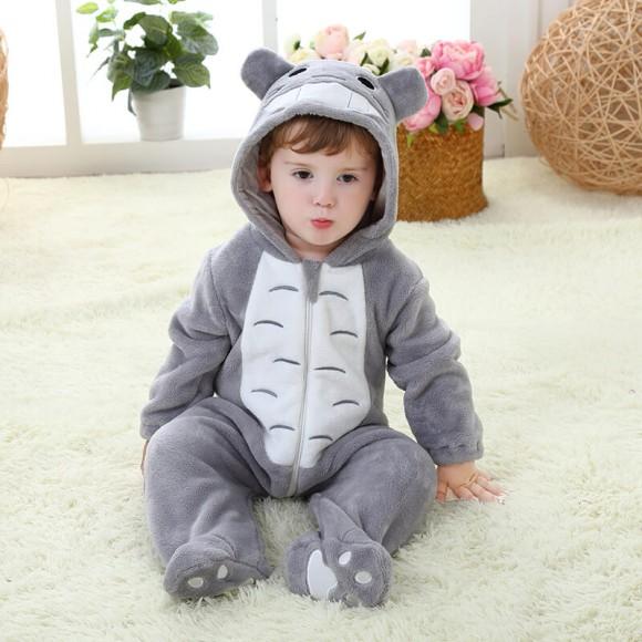 Baby Grey Totoro Toddler Kigurumi Onesie Pajamas Animal Costume