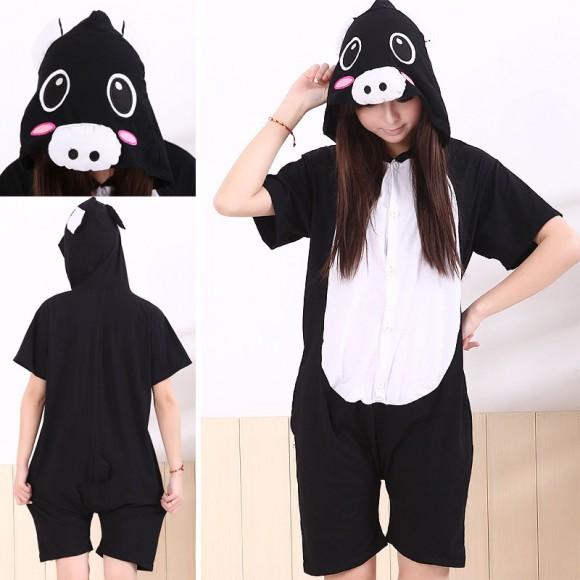 Black Pig Kigurumi Summer Onesies Pajamas Animal Hoodie Short Sleeve