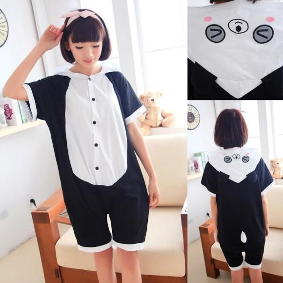 Blink Panda Kigurumi Summer Onesies Pajamas Animal Hoodie Short Sleeve