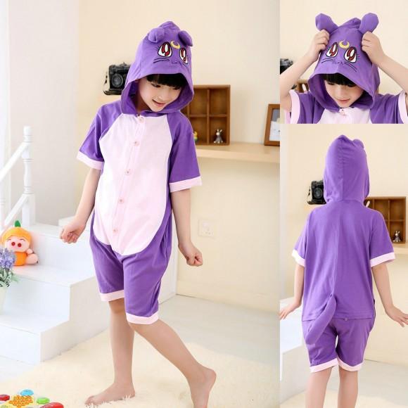 Cartoon Purple Cat Onesies Short Sleeves Pajamas for Kids