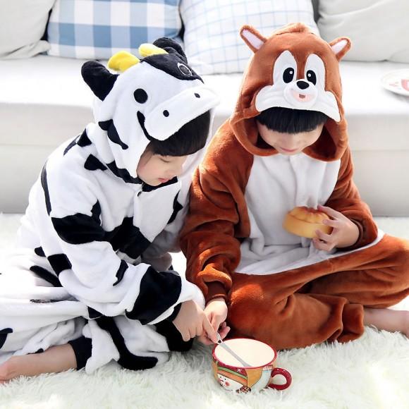 Cows and Squirrels Animal Kigurumi Onesie Pajamas for Kids
