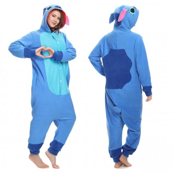 Unisex Cute Blue Stitch Onesie Winter Warm Animal Pajama