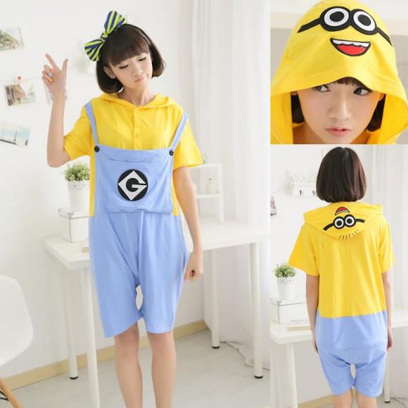 Despicable Me 2 Minions Kigurumi Summer Onesies Pajamas Animal Hoodie Short