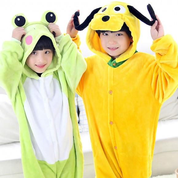 Frog and Pluto Dog Animal Kigurumi Onesie Pajamas for Kids