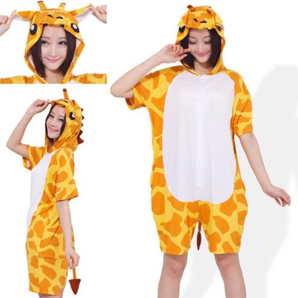 Giraffe Kigurumi Summer Onesies Pajamas Animal Hoodie Short Sleeve