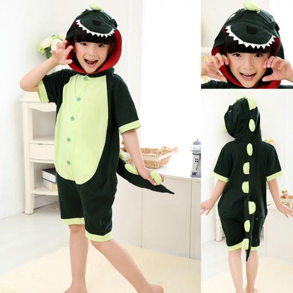 Green Dinosaur kigurumi Onesies Short Pajamas for Kids