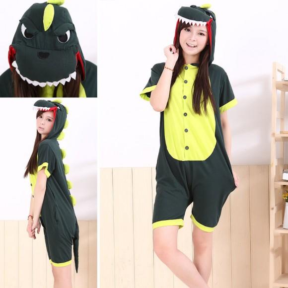 Green Dinosaur Kigurumi Summer Onesies Pajamas Animal Costume Short Sleeve