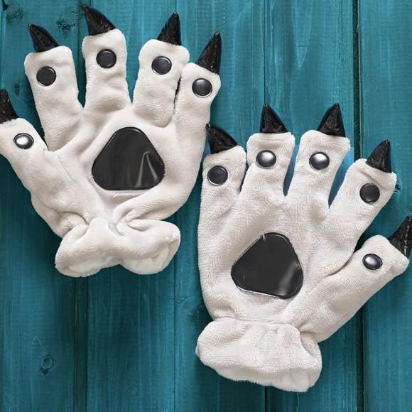Unisex Grey Onesies Animal Hands Paw Flannel Gloves