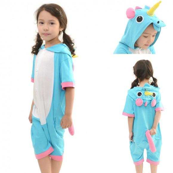Kids Blue Unicorn Animal Onesies Kigurumi summer Pajamas