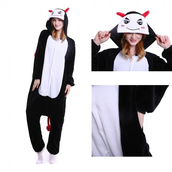 Unisex kigurumi Black white Demon onesies animal onesies pajamas