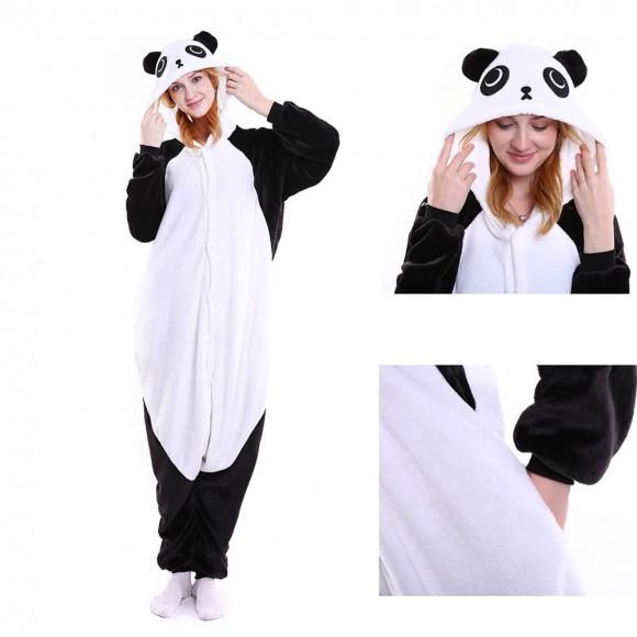 Unisex Black white Kungfu Panda kigurumi onesies animal pajamas