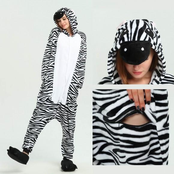 Unisex Black white Zebra kigurumi onesies animal pajamas