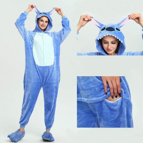 Blue Stitch onesies animal kigurumi pajamas for Women & Men