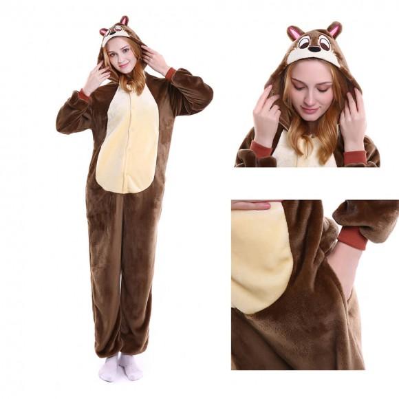 Unisex brown Chipmunk kigurumi onesies animal pajamas