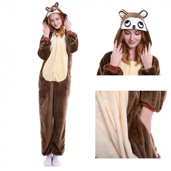 Unisex brown Monkey kigurumi onesies animal pajamas