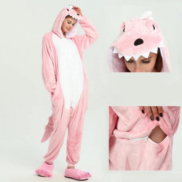 kigurumi Pink Dinosaur onesies animal pajamas for adults