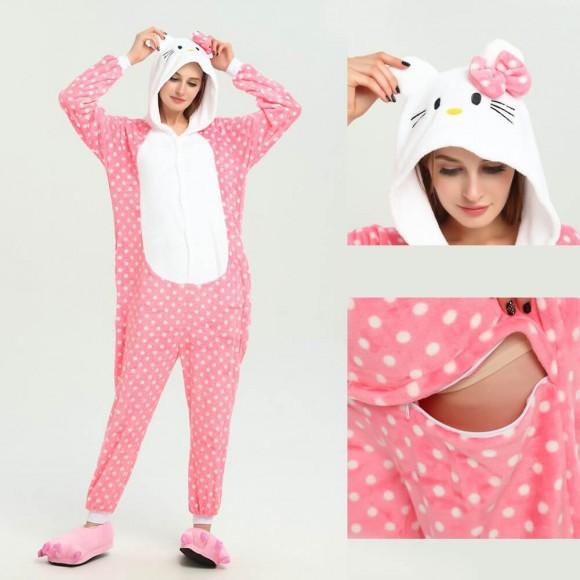 Unisex Pink Hello Kitty Cat kigurumi onesies animal pajamas