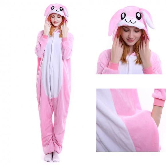 Unisex Pink Rabbit kigurumi onesies animal pajamas