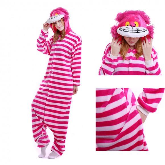 Unisex kigurumi Pink Red Cheshire Cat onesies animal onesies pajamas
