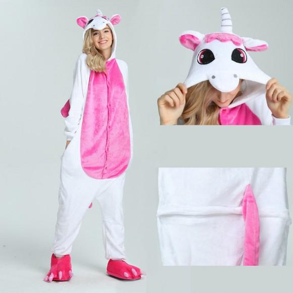 Unisex kigurumi Pink Unicorn onesies animal pajamas