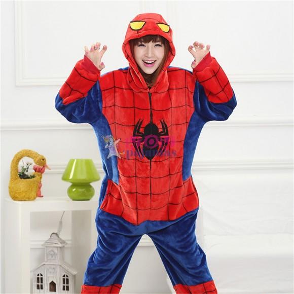 Unisex kigurumi Red Blue Spider Man onesies animal onesies pajamas