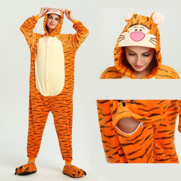 Unisex kigurumi Yellow Black Tigger onesies animal onesies pajamas