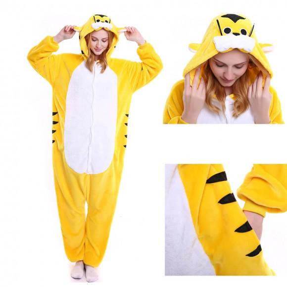 Unisex Yellow Tiger kigurumi onesies animal pajamas