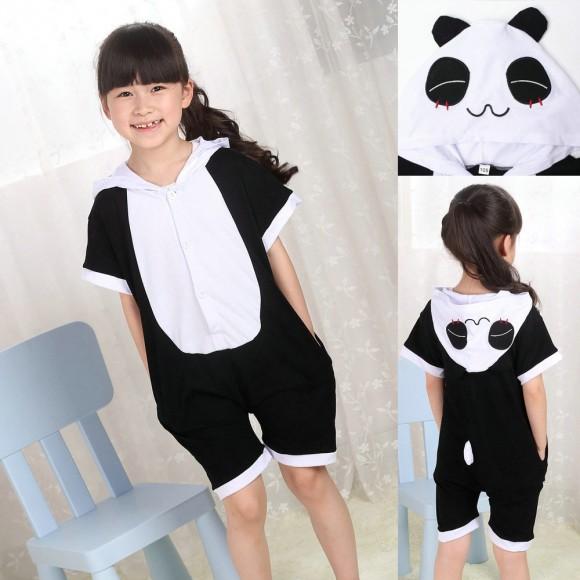 kigurumi Panda Animal Onesies Short Sleeves Pajamas