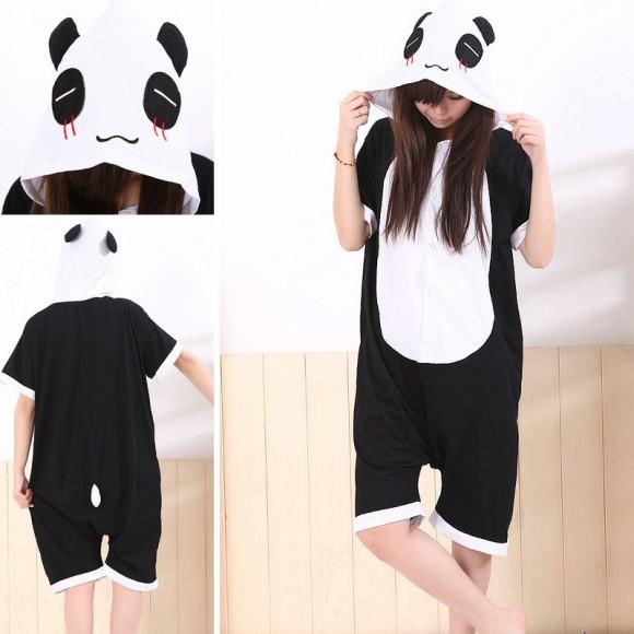 Panda Kigurumi Summer Onesies Pajamas Animal Short Sleeve