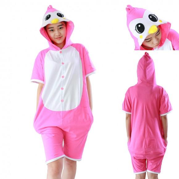 Penguin Kigurumi Animals Costumes Pajamas Pink Short Sleeve