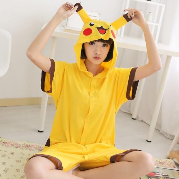 Pikachu Kigurumi Summer Onesies Pajamas Animal Hoodie Short Sleeve