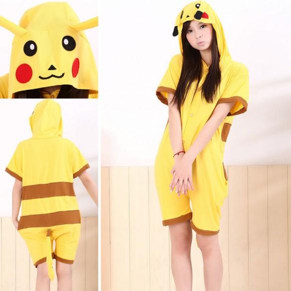 Pikachu Kigurumi Summer Onesie Pajama Animal Hoodie Short Sleeve