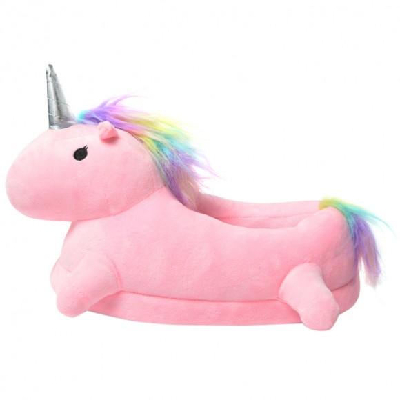 Pink 3D Cute Plush Unicorn Light Up Slippers Shoes
