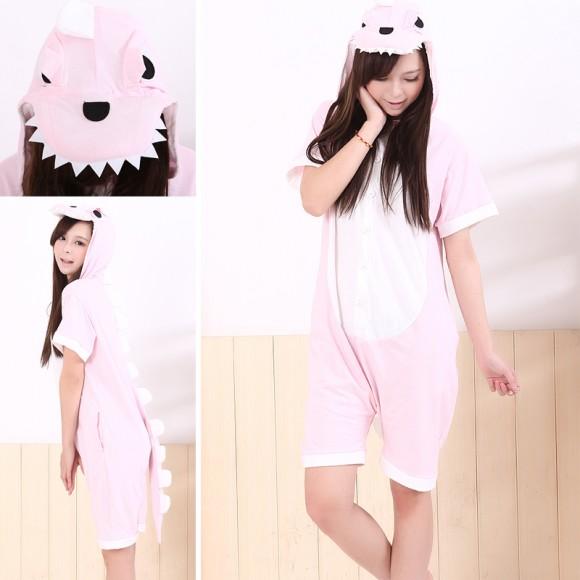 Pink Dinosaur Kigurumi Summer Onesies Pajamas Animal Short Sleeve