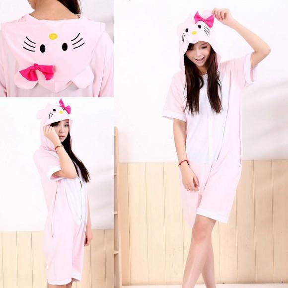 Pink KT Cat Kigurumi Summer Onesies Pajamas Animal Hoodie Short Sleeve