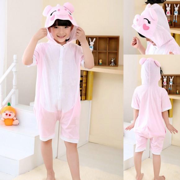 Animal kids Pink Pig kigurumi Onesies Short Sleeves Pajamas